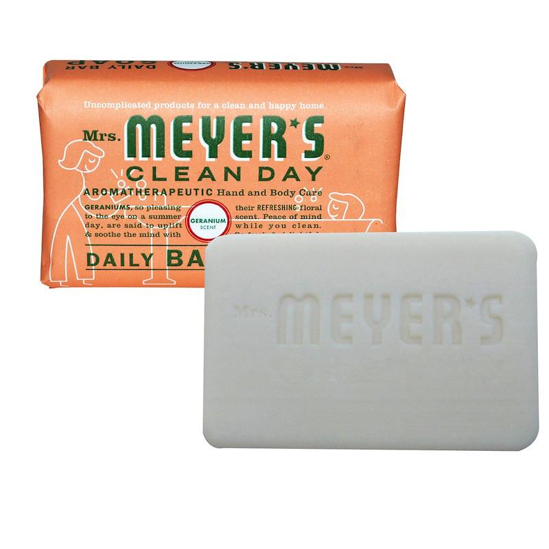 Mrs. Meyers Clean Day, Кусковое мыло для ежедневного использования, аромат герани, 150 г (5,3 унции)