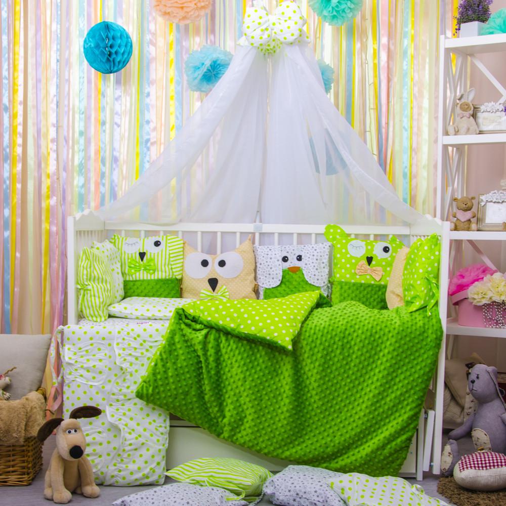 Детское постельное белье в кроватку, бортики подушки зверюшки, набор 8 предметов салатовый, минки