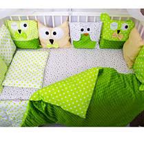 Детское постельное белье в кроватку, бортики подушки зверюшки, набор 8 предметов салатовый, минки, фото 3