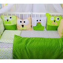 Детское постельное белье в кроватку, бортики подушки зверюшки, набор 8 предметов салатовый, минки, фото 2