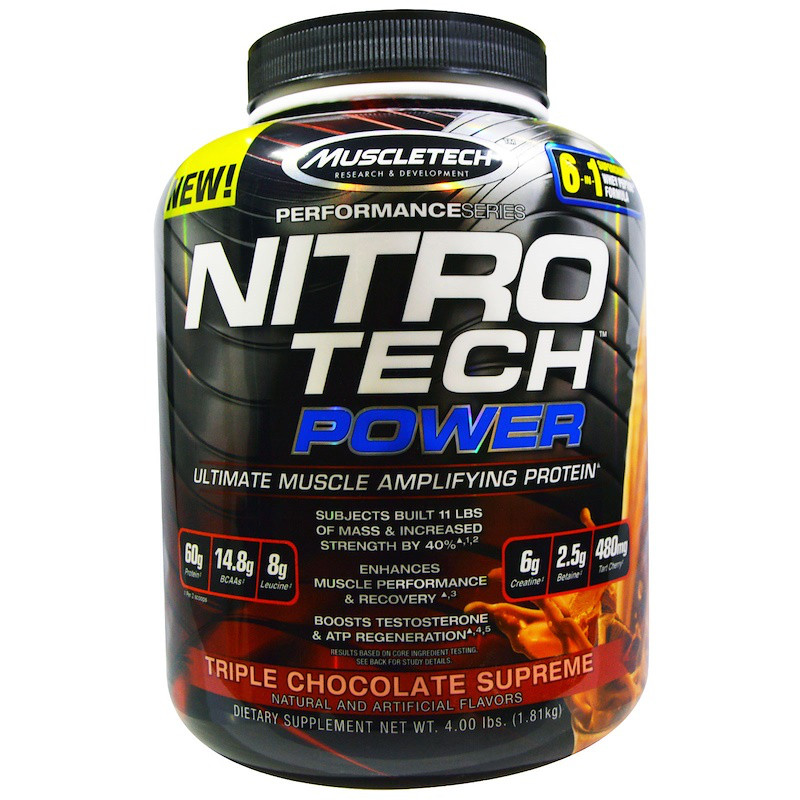 Протеин, тройной шоколад, Ultimate Muscle Amplifying Protein, Nitro Tech Power, Muscletech, 1.81 кг.