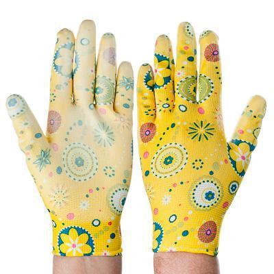Садовые перчатки с цветочным принтом