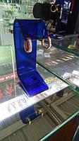 Синяя акриловая подставка для серег + кольцо (бу)
