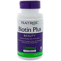 Natrol, Biotin Plus, красота, дополнительная сила, 5000 мкг, 60 таблеток