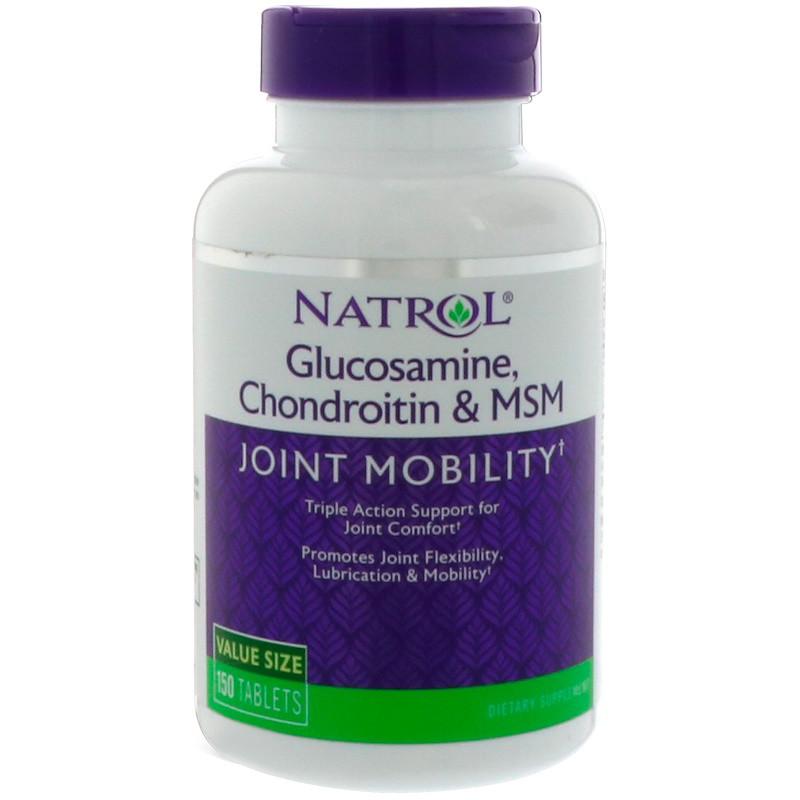 Глюкозамин, хондроитин+МСМ, Natrol, 150 таблеток