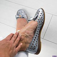 Балетки женские кожаные серебристые, фото 1