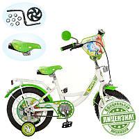 Детский двухколесный велосипед 12 дюймов зелено-белый, FX 0034