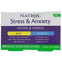Natrol, Stress & Anxiety, Day & Nite, 10 Tablets Each