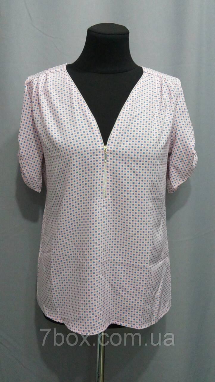Рубашка женская на Змейке с коротким рукавом. 42,44, 46рр Софт. 033