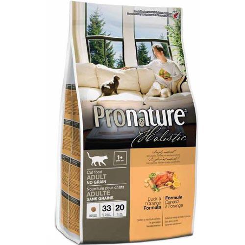 Сухой корм для взрослых котов Pronature Holistic Adult с уткой и апельсинами корм без злаков 340 гр