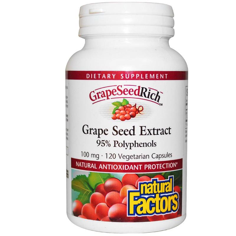Экстракт виноградных косточек (Grape Seed), Natural Factors, 120 кап.