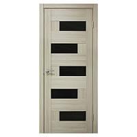 Межкомнатная дверь ПВХ Омис Домино 600мм Черное стекло Дуб беленый
