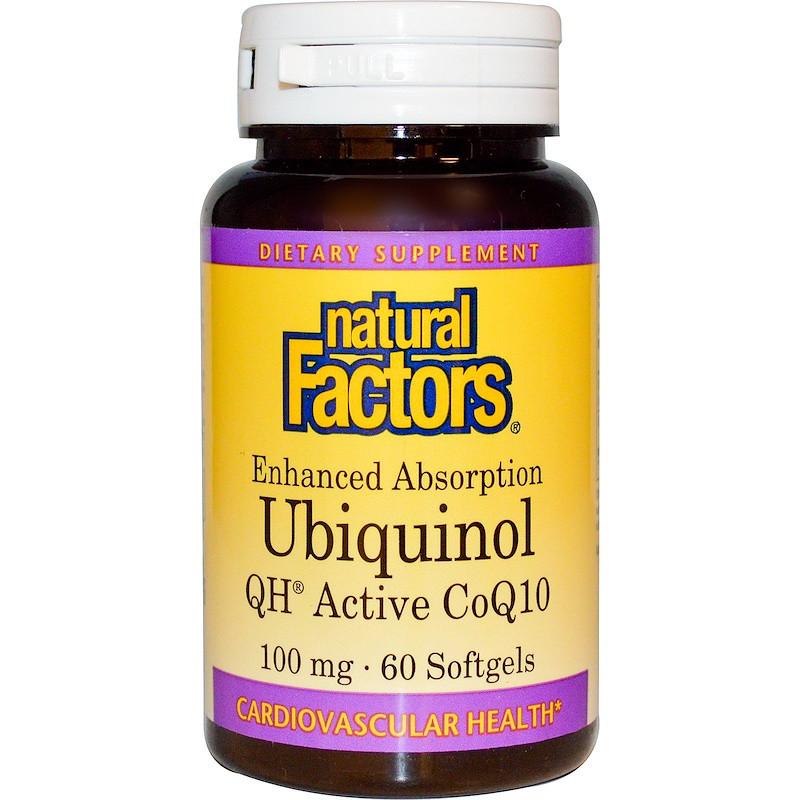Коэнзим Q10, Natural Factors, Убихинол (Ubiquinol), 100 мг, 60 капсул