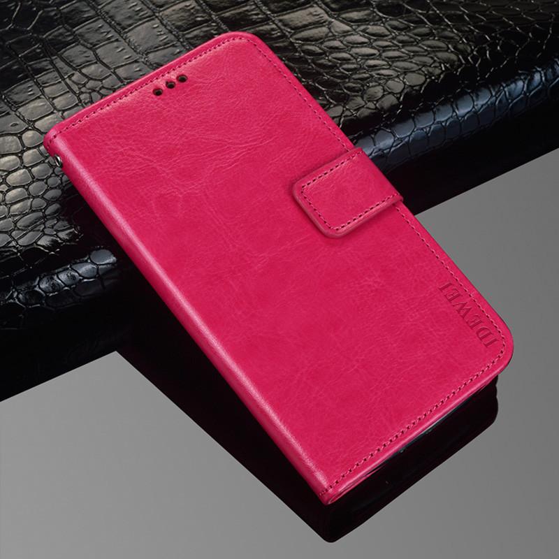 Чехол Idewei для Meizu M6 Note книжка кожа PU малиновый