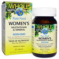 """Natural Factors, Пищевая добавка """"Непочатое море и земля"""", мультивитаминный и минеральный комплекс для женщин, 60 таблеток"""