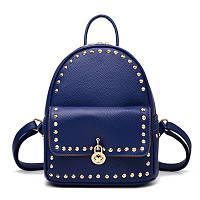 Рюкзак женский городской с навесным замочком и заклепками (синий), фото 1