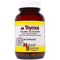 Natural Sources, Пищевая добавка «Все для вилочковой железы», 60 капсул