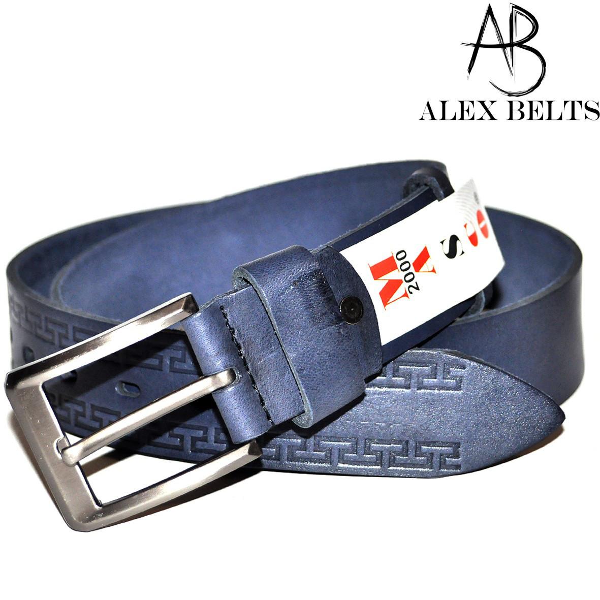 Ремень мужской джинсовый (синий) с тиснением кожаный 40 мм - купить оптом в Одессе