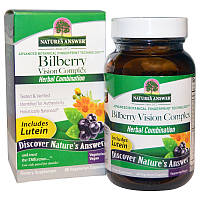 Черника для зрения, Bilberry Vision Complex, Nature's Answer, 60 капсул