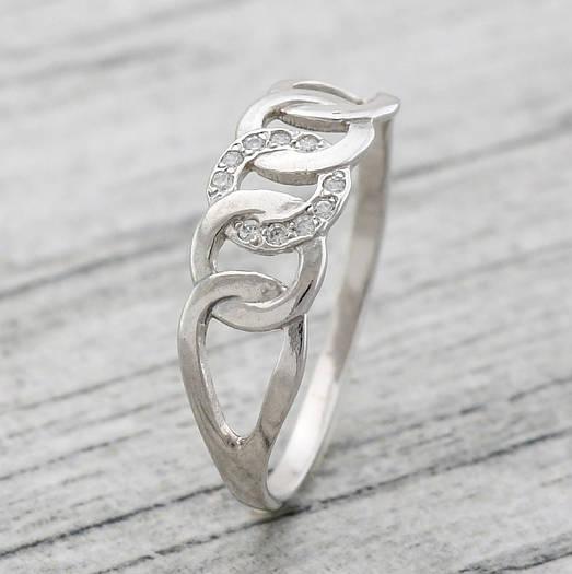 """Серебряное кольцо """"Цепочка"""", вставка белые фианиты, вес 1.11 г, размер 16"""