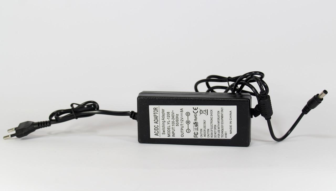 Сетевой адаптер 12V 8A Пластик + кабель (разъём 5.5*2.5mm),блок питания, зарядное устройство