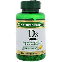 Nature's Bounty, D3, 5000 IU, 240 мягкие таблетки быстрого высвобождения