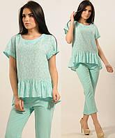 Блузка женская коттоновая блуза тонкая трикотажная с воланом летняя