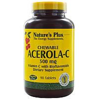 Витамин С жевательный (ацерола-с), Chewable Acerola-C, Nature's Plus, 90