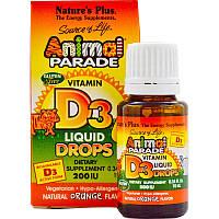 Витамин D3, Vitamin D3, Liquid Drops, Nature's Plus, 10 мл
