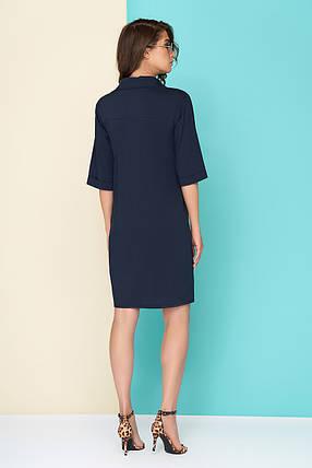 b433dc19e0c Легкое платье на лето на пуговицах прямого кроя до колен темно синее ...
