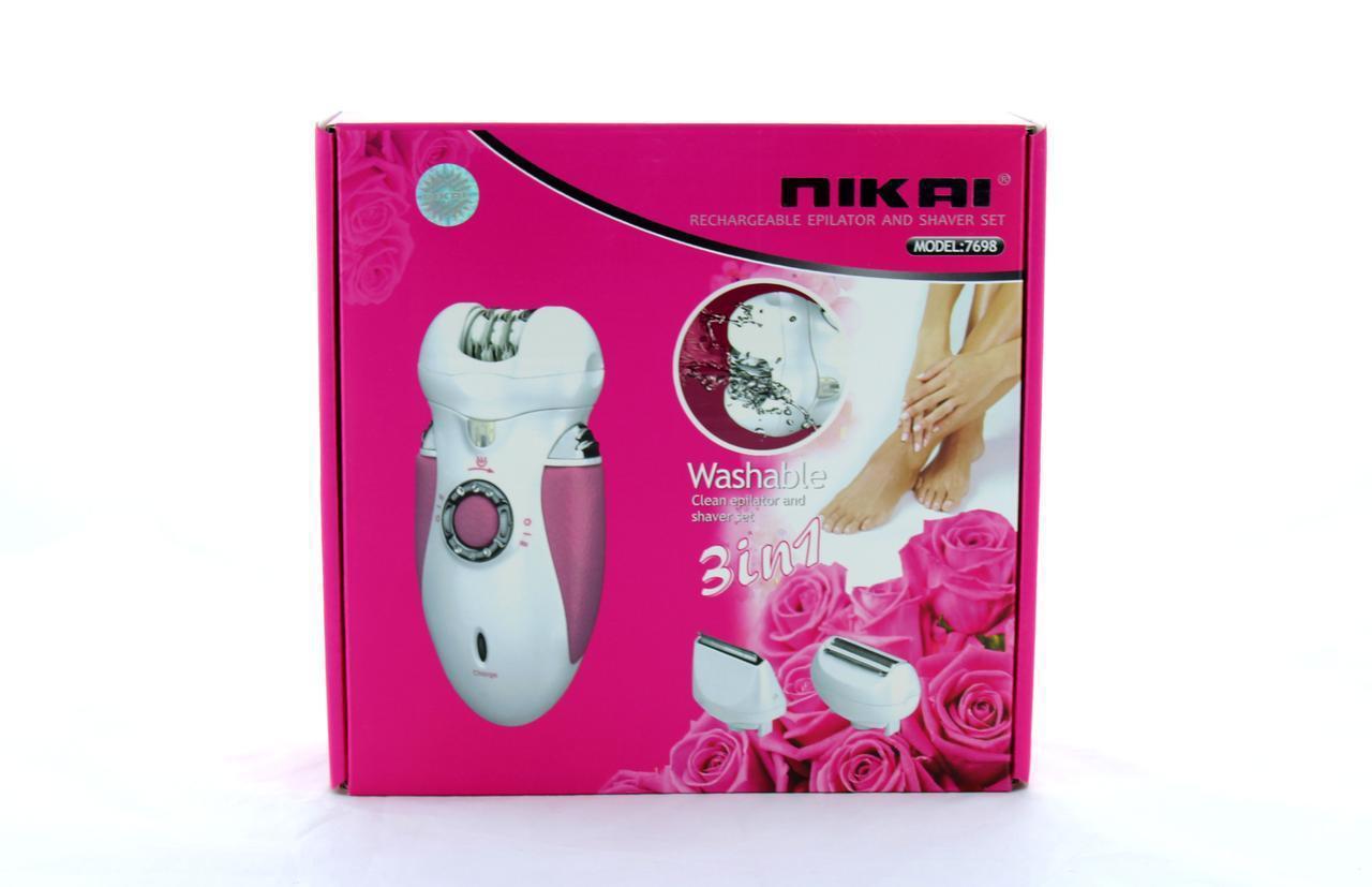 Эпилятор Nikai 7698 с 3 сменными насадками