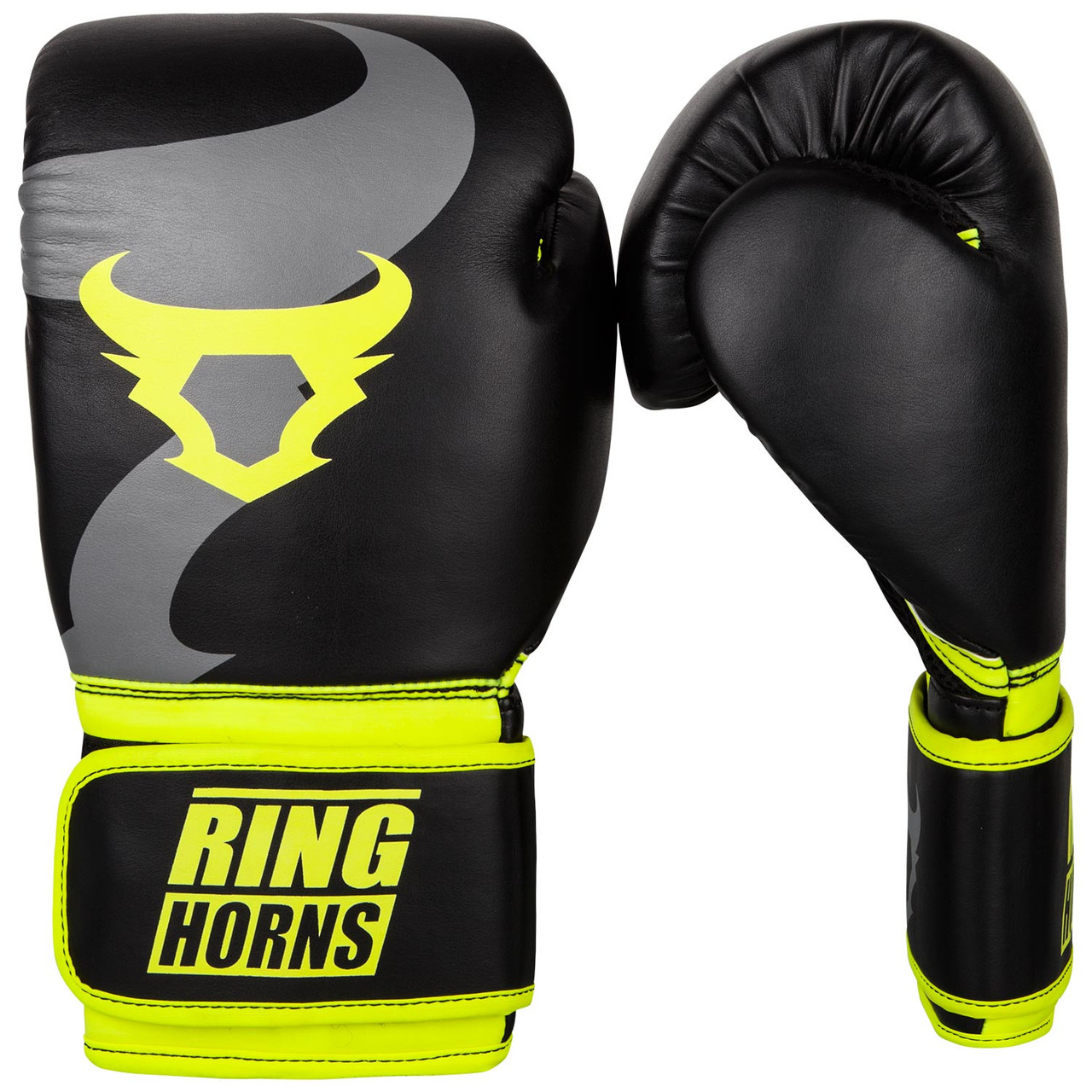 Боксерские перчатки Ringhorns Charger Black/Neo Yellow 12oz