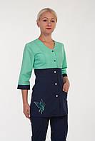 Медицинский женский костюм на кнопках с вышивкой батист 40-56р. Хелслайф