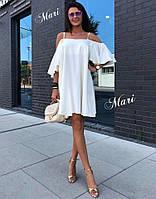 Женское легкое свободное платье с открытыми плечами (расцветки), фото 1