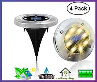 Уличный светильник на солнечной батарее Disk lights 4 шт.
