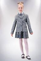 Юбка для девочки школьная серо-голубая клетка