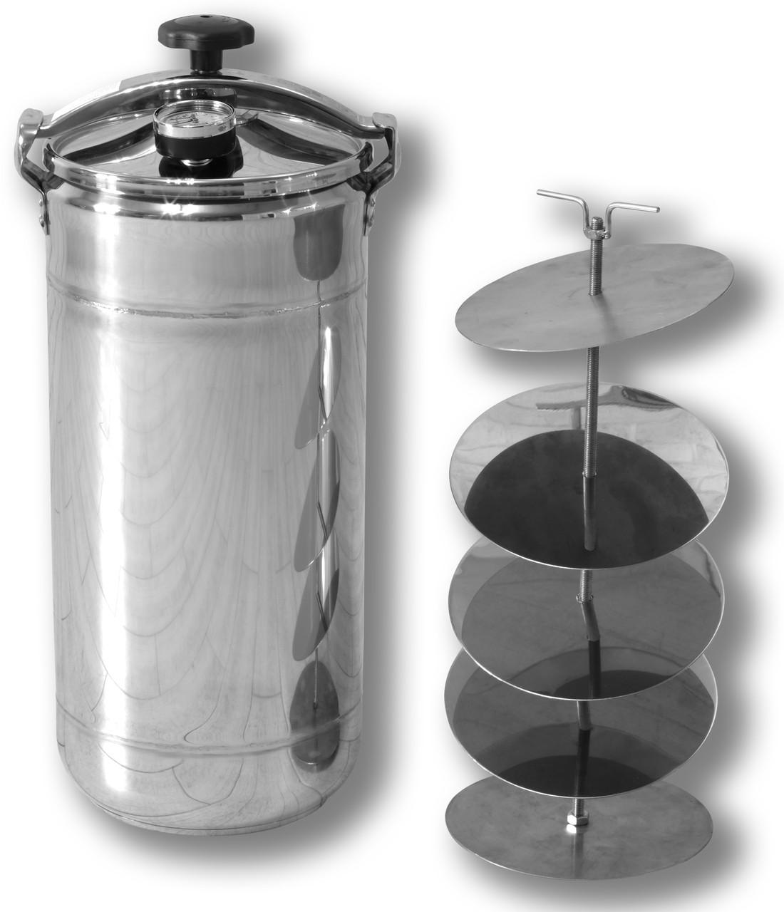 Автоклав кассетный бытовой Бинго Оптимальный на 16 банок, нержавеющая сталь домашний для консервирования