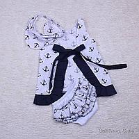 Летнее платье с трусиками и косынкой Пироженка якоря