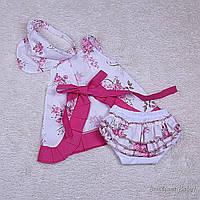 Летнее яркое платье с трусиками и косынкой Пироженка розочки 6-24 мес