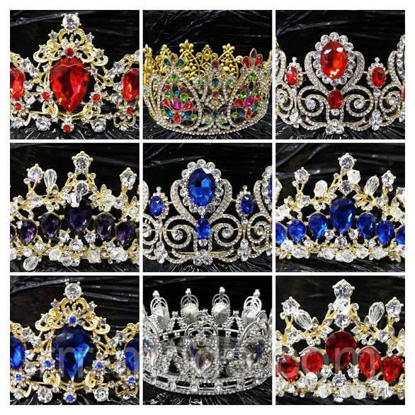 Золотые и круглые короны свадебные оптом.