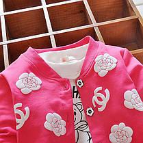 Кофта c цветочками для девочки мятная, фото 3