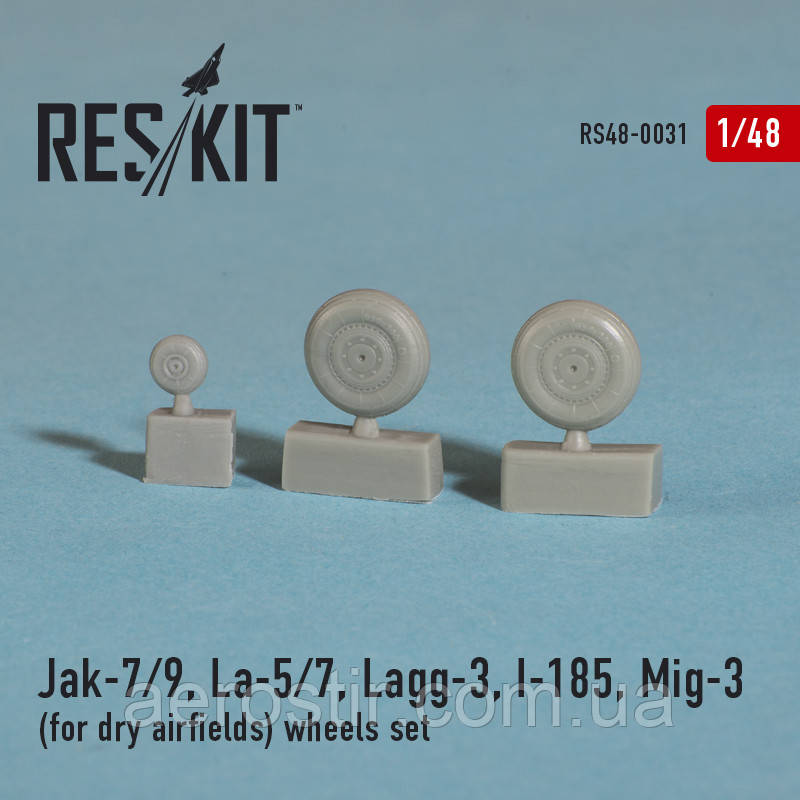 Jak-7/9, La-5/7, Lagg-3, I-185, Mig-3 (for dry airfields) wheels set 1/48 RES/KIT 48-0031