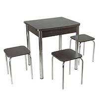Столовый набор Овале (Раскладной стол + 3 табурета) ножки хром металл  ТМ Тавол