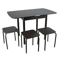 Столовый набор Тавол Овале (Раскладной стол + 3 табурета) ножки черный металл ТМ Тавол