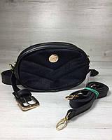 e66efd746f43 Женская сумка на пояс- клатч WeLassie черного цвета Бархат черный