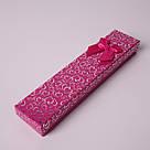 Подарочная коробочка под браслет или цепочку Сердечки с бантом фуксия 20,5*4,5*2 см, фото 3