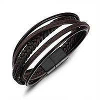 Мужской браслет кожаный коричневый в скандинавском стиле, фото 1