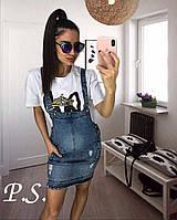 Женский джинсовый комбинезон с юбкой