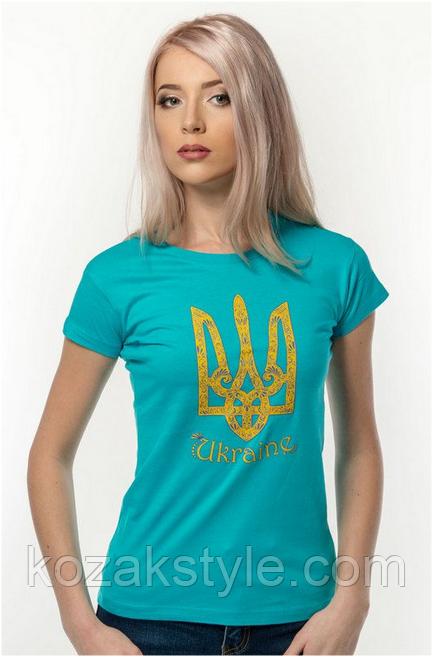 Футболка жіноча Тризуб Ukraine бірюзова, біла