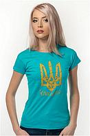 Футболка жіноча Тризуб Ukraine бірюзова, біла, фото 1